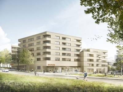 Bâtiment Retraites Populaires, écoquartier des Plaines-du-Loup, Lausanne